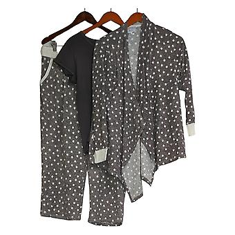 Carole Hochman Women's Petite Waffle Fleece 3-Piece Pajama Set Gray A294068