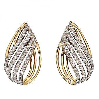 Elements Gold Teardrop Shaped Diamonds Yellow Gold Earrings GE2381