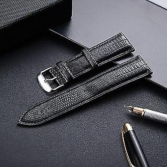 Cinturino universale in pelle con texture lucertola taglia 20 mm nero