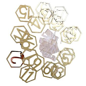 Hexagon table number signs for wedding party decor, silver or gold acrylic number, roman numerals geometric centerpiece