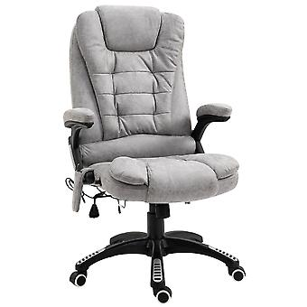 Vinsetto Massage Office Chair Recliner Ergonomic Gaming Heated Home Office Padded  Leathaire Fabric & Swivel Base Grey
