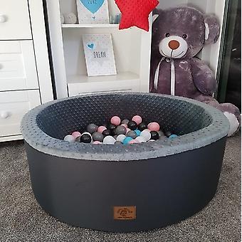 Bällebad - robustes Bällebad - 90 x 40 cm - 200 Bälle - weiß, grau, schwarz, pink und blau