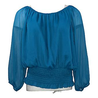 Colleen Lopez Women's Top Peasant Blouse Elastic Cuff Blue 698389