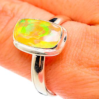 Natural Ethiopian Opal Ring Size 10.75 (925 Sterling Silver)  - Handmade Boho Vintage Jewelry RING76354