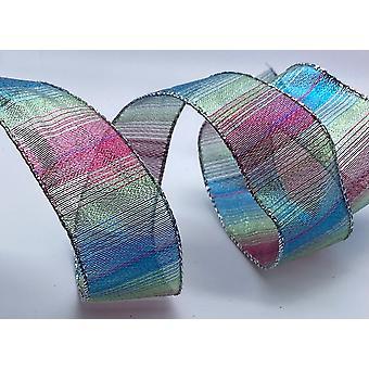 Trådkantet bånd 1,5 tommer bredt 2 meter - regnbueglitter