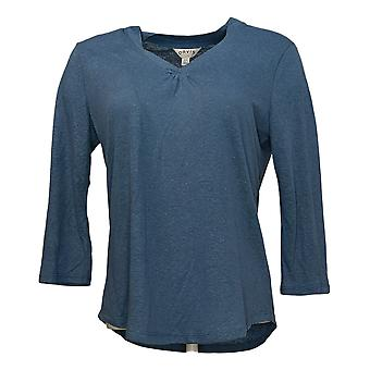 Orvis Women's Top Easy Relaxed Fit 3/4 Sleeves Linen Blend Blue