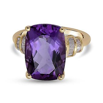 TJC Amethyst Solitaire Ring for Women 9K Yellow Gold White Diamond 6.44ct(L)