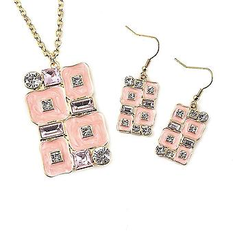 TJC Pendant, Drop Dangle Jewellery Set for Womens Simulated Crystal in Steel 4ct