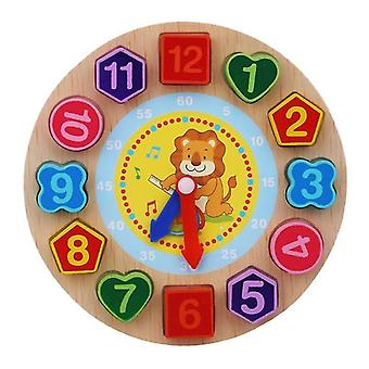 Montessori cartone animato animale educativo perla in legno geometria orologio puzzle per bambini 5+(Leone