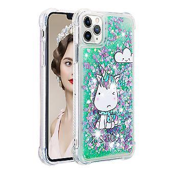 Case For Iphone 11 Pro Max Glitter Liquide Paillette Tincelle Sparkly Cristal Brillante Bumper - Unicorn Green