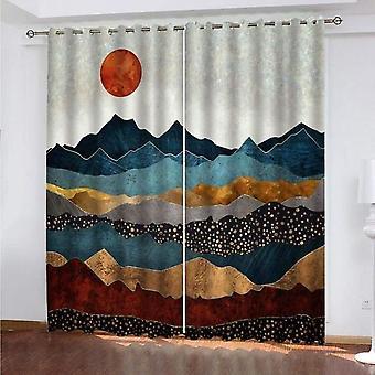 ベッドルームリビングルーム3d抽象マウンテンビューサンライズ140x240cm 2ピースセット遮光カーテンウィンドウ装飾