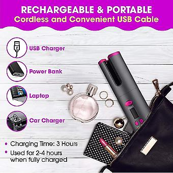 Wireless Automatic Hair Curler Rechargeable Rotating Curling Iron Led Display Temperature Adjustable Hair