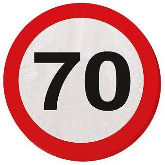 Serviette Verkehrsschild Zahl 70 Geburtstag 20 St. Schild Party