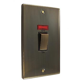 Causeway 2 Gang 45A DP Ingot Switch With Neon, Antique Brass