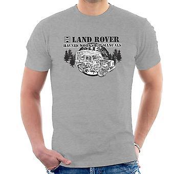Haynes ägare Workshop Manual Land Rover skogen svart mäns T-Shirt