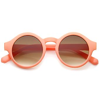 Women's Bright Pastel Color Retro Horn Rimmed Round Sunglasses 47mm