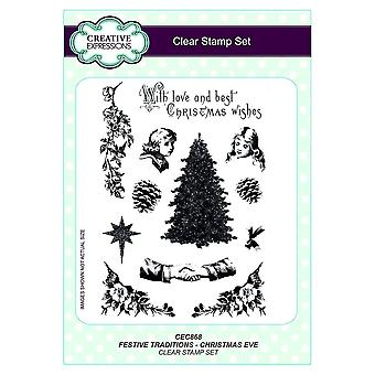 Creative Expressions Clear Stamp Festive Traditions Christmas Eve*^^