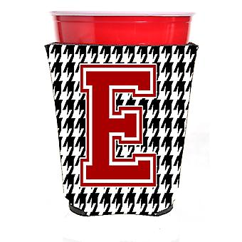 Monogram - Houndstooth  Initial  E Red Solo Cup Beverage Insulator Hugger