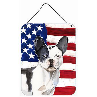Schwarz weiße französische Bulldogge patriotischen Wand oder Tür hängen Drucke