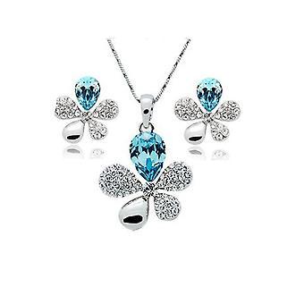 Blue Crystal Flower Petal Leaf Earrings And Necklace Set BG1636