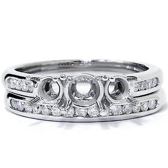 ct 3/8 tres piedra compromiso boda Set 14K oro blanco