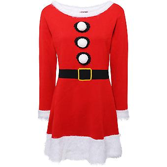 Christmas Womens/Ladies Mrs Claus Knitted Santa Jumper Dress