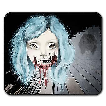 Meisje eng griezelig antislip-muismat Pad 24 x 20 cm | Wellcoda