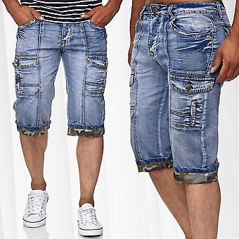 Men's Bermuda Jeans Cargo Shorts Stone Washed Summer Vintage Pants Trousers