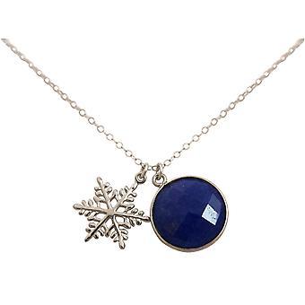 Gemshine halskjede anheng SCHNEEFLOCKE 925 sølv safir blå 45 cm