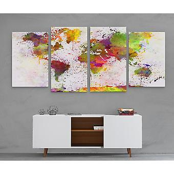 Large A1 A2 A3 Panel Panoramic Canvas Wall Art of World Map Large Prints Pictures