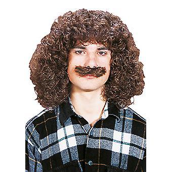Wolfgang med ett skägg axeln längd lockigt mens peruk mustasch brun