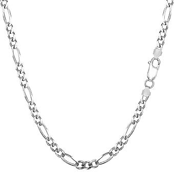Sterling prata ródio chapeado Figaro colar, 3.0mm