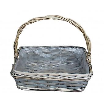Medium Rectangular Wicker Flower Basket With Plastic Lining