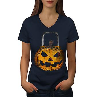 Halloween Workout Gym Women NavyV-Neck T-shirt | Wellcoda