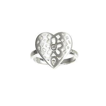 Cavendish franske Sterling sølv filigran hjerte Ring med centrale CZ sten