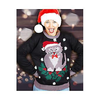 Suéter de los hombres de trajes divertidos Navidad con gato y pompones para las mujeres