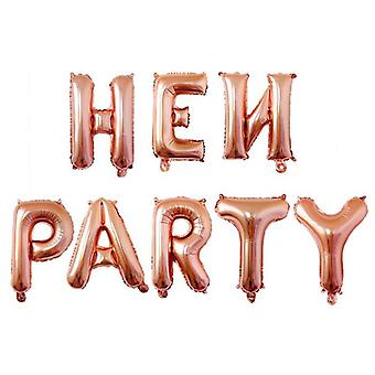 ROSE GOLD HEN PARTY LETTER FOIL BALLONS 16INCH