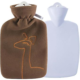 Hugo Frosch Classic Hot Water Bottle Double Fleece Cover Chocolate 1.8L