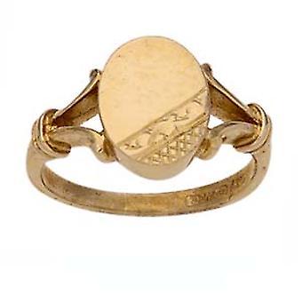 9ct Gold kézzel vésett ovális osztott vállak Signet Ring méret Z