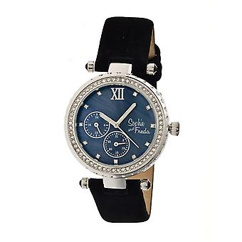 Sophie & Freda Montreal MOP Leather-Band Watch - Silver/Black