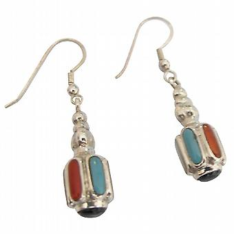 Inlay Sterling Silver & Multi-Color Mother of Pearls Earrings