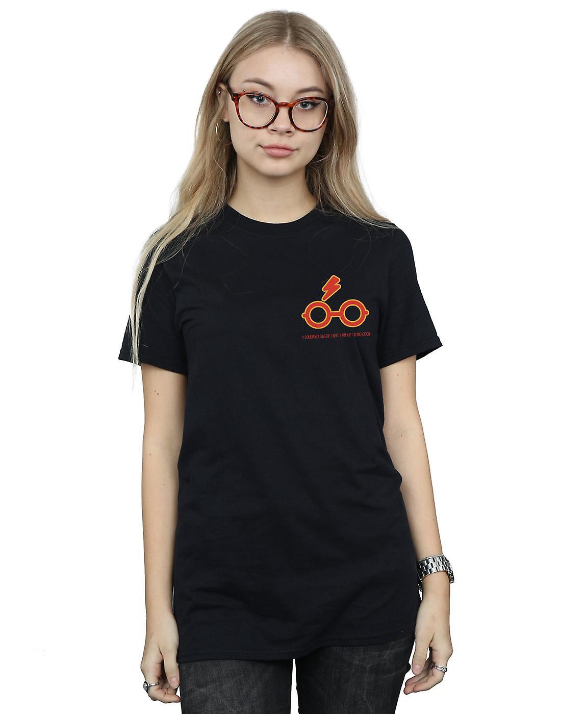 Harry Potter Women's I Solemnly Swear Breast Print Boyfriend Fit T-Shirt