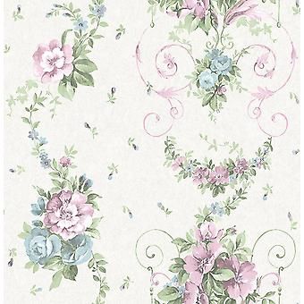 Floral Flower Wallpaper Rose Lilac Blue Green Cream Metallic Mica Shimmer