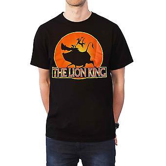 Lion King T shirt Pumba en Timon logo nieuwe officiële Disney mens zwart
