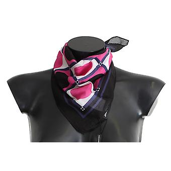 Pink black white dotted cotton scarf