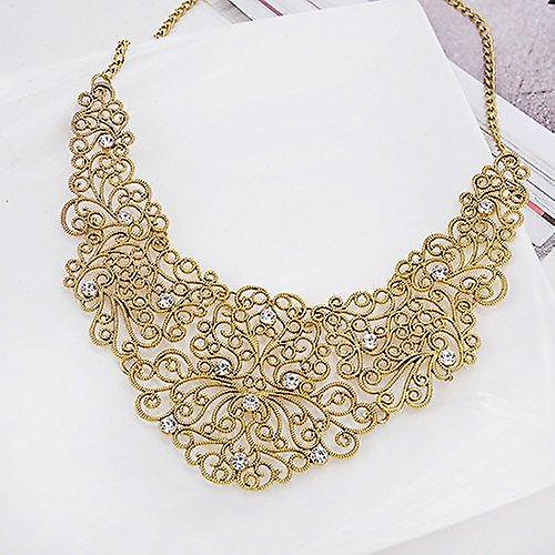 Ladies filigree paisley style gold chunky style statement chunky necklace