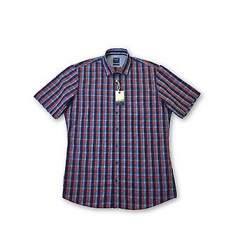 Olyp Casual odern fit short sleeve shirt in navy/red tartan