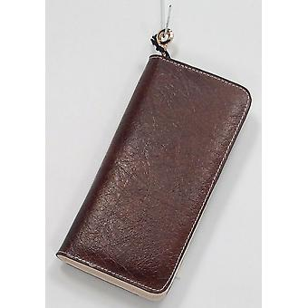 Madi Claire Leather Zipper Around Wallet Style Brown Handbag