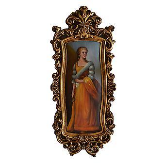 Elegant kvinna, oljemålning med ram, yttermått 79x34x4 cm