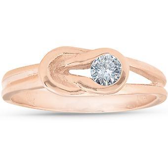 1 / 5ct Diamond knoop Solitaire ronde briljant geslepen Ring 14K Rose Gold